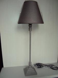 Lampe gris abat jour gris taupe flanelle et ficelle - Abat jour cosy ...